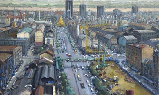 Cityscape with construction towards Sule Pagoda Yangon