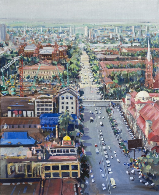 Cityscape with construction Aung San Bogyoke Road Yangon